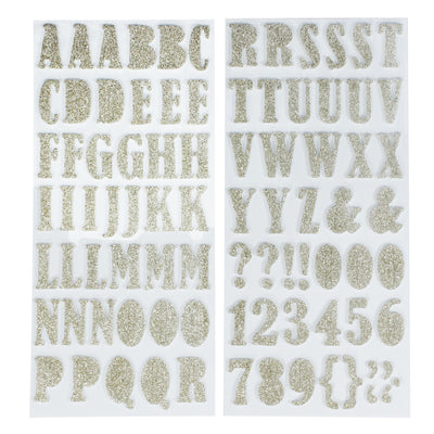 Chunky Alphabet & Numbers - Gold, 2 sheets