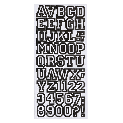 Printed Alphabet and Numbers - Carbon Black, 4 Sheet