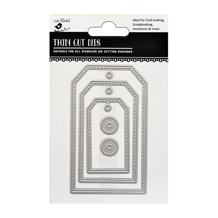 Thin Cut Dies- Stitched Tags, 5Pc