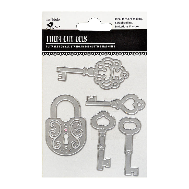 Thin Cut Dies- Lock & Key, 5Pc