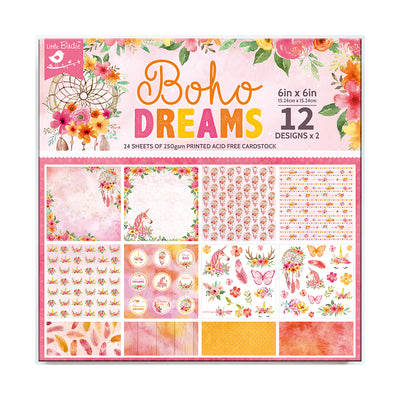 6 x 6 inch Printed Cardstock pack- Boho Dreams, 24 Sheets, 12 Designs, 250 gsm