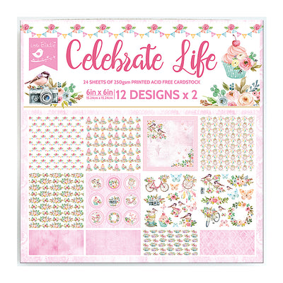 Paper Pack Celebrate Life- 6in x 6in, 24 sheet, 12 Designs, 250 gsm