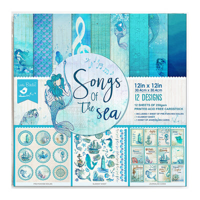 "Printed Cardstock Pack 12"" x 12"", 12 Sheets, 250gsm - Songs Of The Sea"