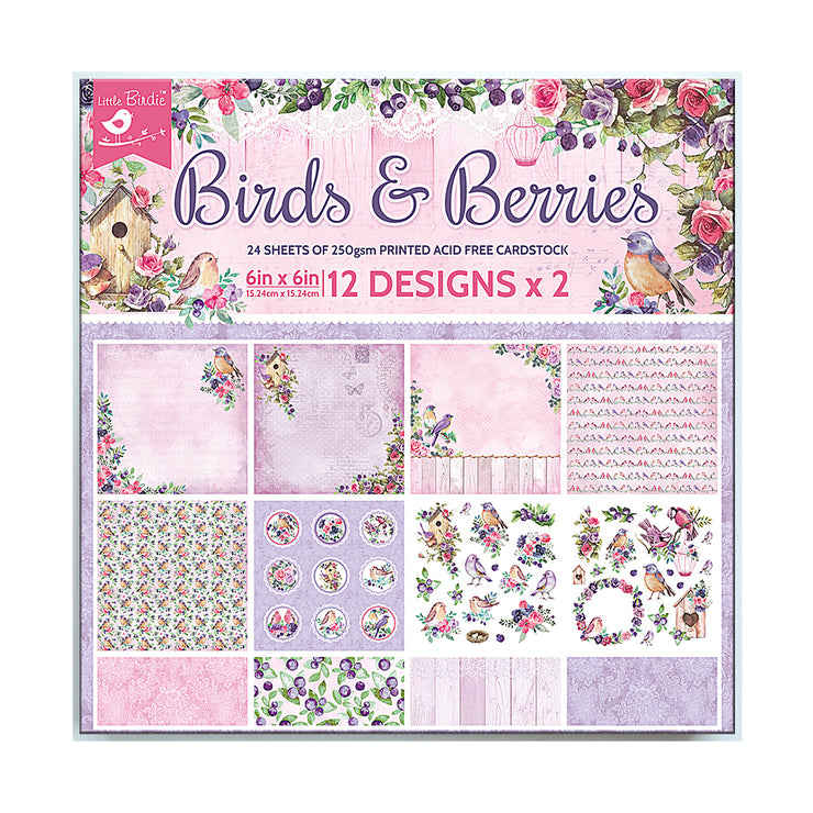 6 x 6 inch Printed Cardstock pack- Birds & Berries, 24 Sheets, 12 Designs, 250 gsm