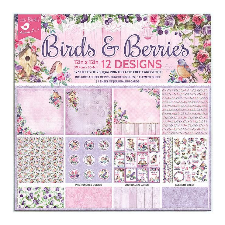 12 x12 inch Printed Cardstock pack- Birds & Berries, 12 Sheets, 12 Designs, 250 gsm