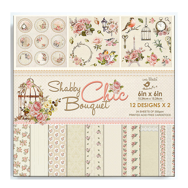6 x 6 inch Printed Cardstock pack- Shabby Chic Bouquet, 24 Sheets, 12 Designs, 250 gsm