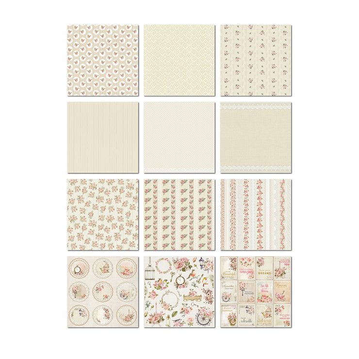 Paper Pack Shabby Chic Bouquet- 12in x 12in,12 Sheet, 12 Designs, 250gsm