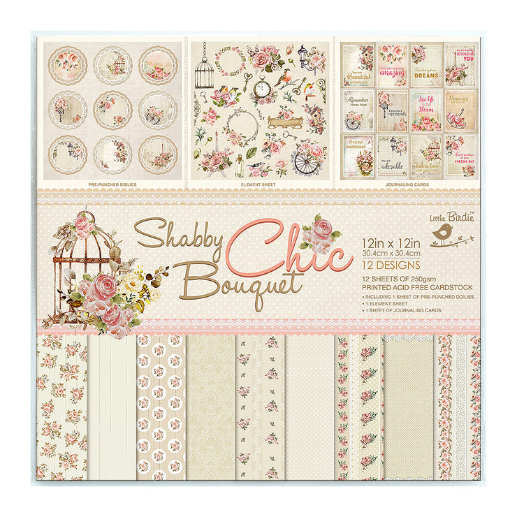 12 x12 inch Printed Cardstock pack- Shabby Chic Bouquet, 12 Sheets, 12 Designs, 250 gsm