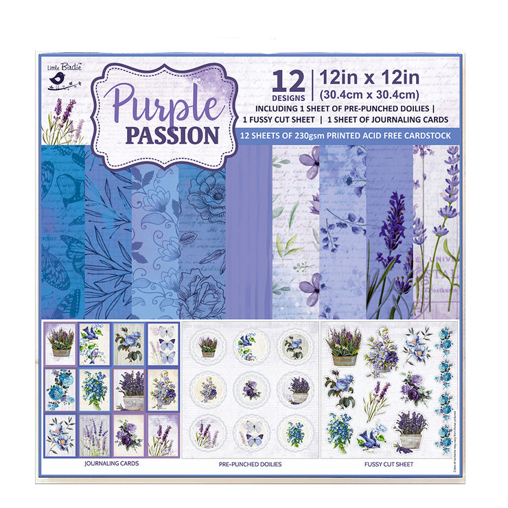 Paper Pack Purple Passion- 12in x 12in, 12 Sheets, 12 Designs, 250 gsm