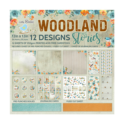 Paper Pack Woodland Stories- 12in x 12in 12 Sheets, 12 Designs, 230 gsm