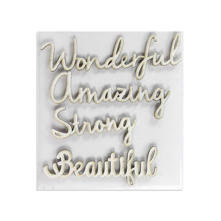 Chipboard Charming Words 4Pcs