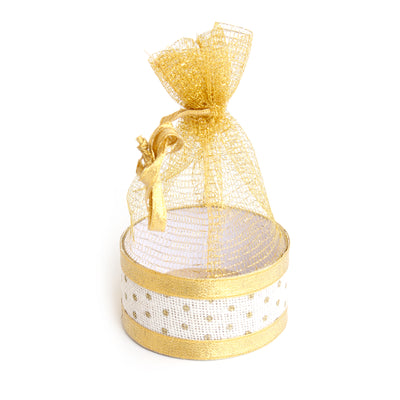 Organza Basket Bag- Burlap And Gold Zari
