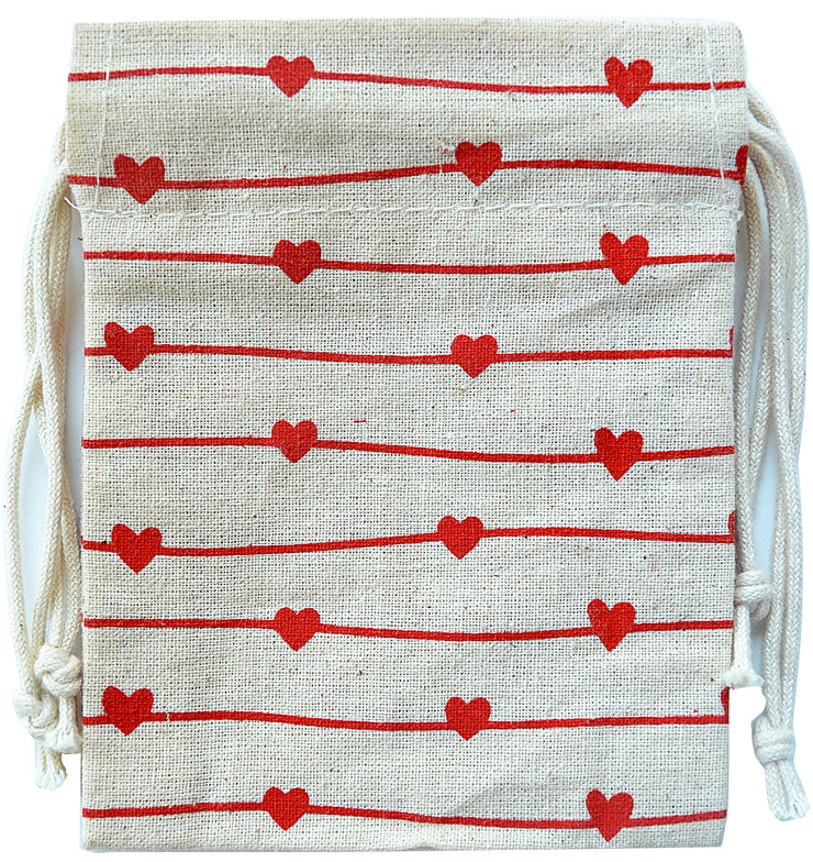 Hearts on Line- Drawstring Bag