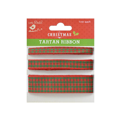 Tartan Ribbon - 1m Each, Red and Green