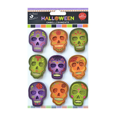 Halloween Sparkling Decorated Skull - 9pc