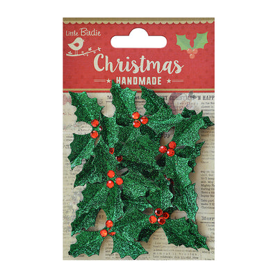 Little Birdie Christmas Accents - Glitter Holly Jolly, 12 pc