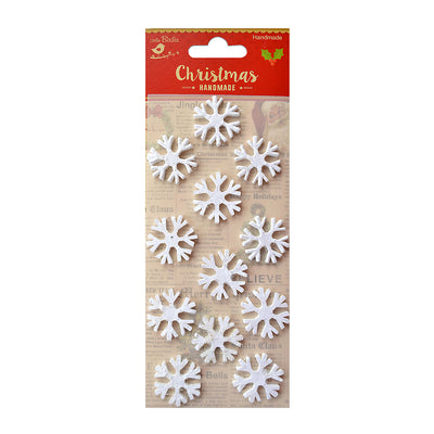 Little Birdie Christmas Embellishment - 3D Mini Glitter Snowflakes, 12 pc