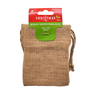 Burlap Drawstring Bag - 3.5'' X 4.5'' 2pc