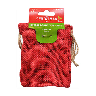 Burlap Drawstring Bag - 3.5'' X 4.5'', Red,  2pc