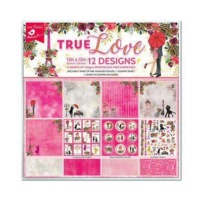 "Little Birdie Printed Cardstock Pack 12"" x 12"", 12 Sheets, 250gsm - True Love"