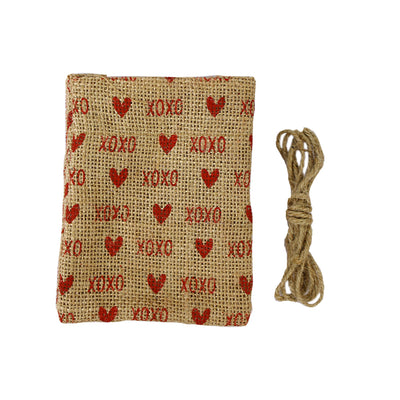 Rustic Chic Burlap Favour Bag Red Hearts With Jute Yarn 1mtr