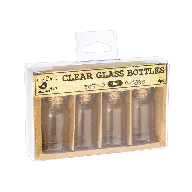 Glass Container with Cork Lid - 10ml, 4Pc