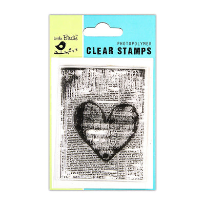 Clear Stamps -  Script Heart, 3x4inch, 1pc