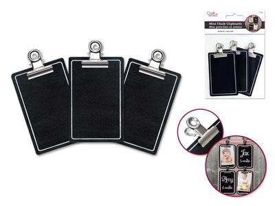 Chalk-It-Up Mini Clipboards With Metal Clip 7cm x 4.5cm 3pc