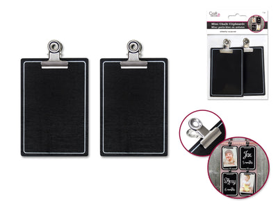 Chalk-It-Up Mini Clipboards With Metal Clip 8cm x 5.5cm 2pc
