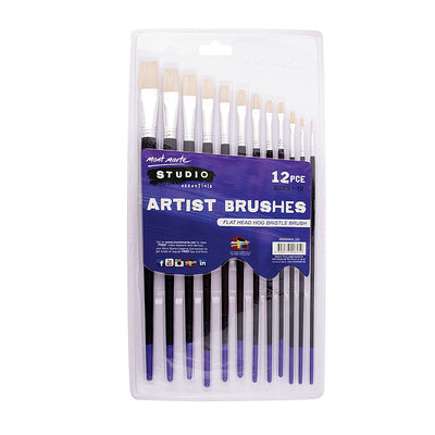 Mont Marte Studio - Artist Brushes, Flat head 1-12, 12pcs