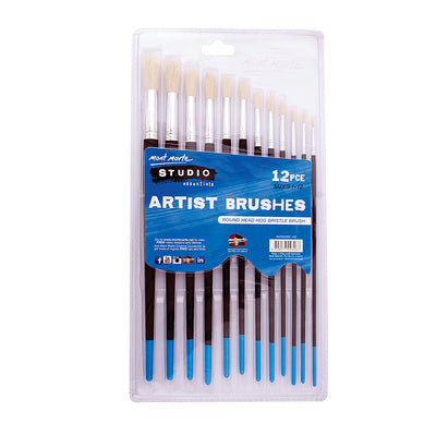 Mont Marte Studio Artist Brushes, Round 1-12 ,12pc