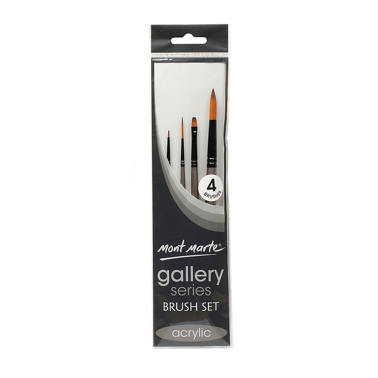 Mont Marte Gallery Series Brush Set Acrylic- 4pc, Set 1