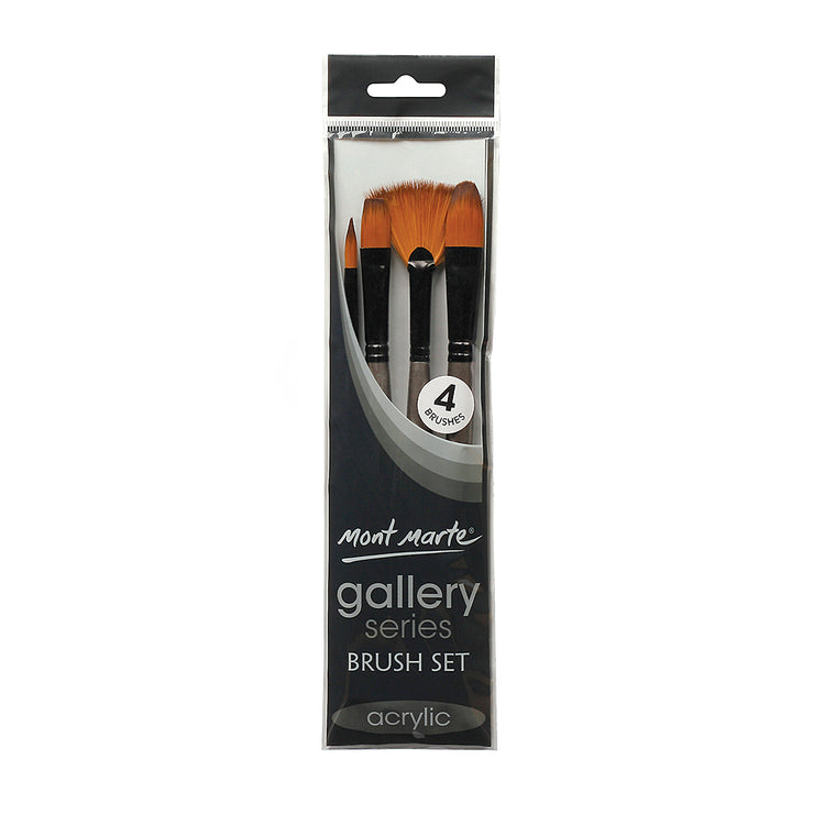 Mont Marte Gallery Series Brush Set Acrylic, 4pc, Set 5