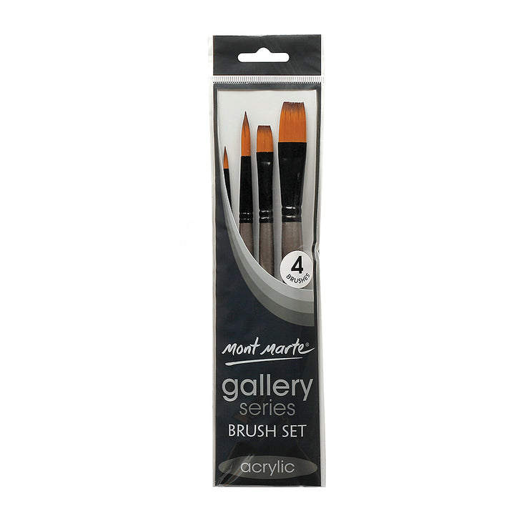 Mont Marte Gallery Series Brush Set Acrylic, 4pc, Set 6