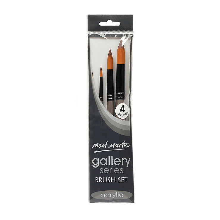 Mont Marte Gallery Series Brush Set Acrylic, 4pc, Set 8