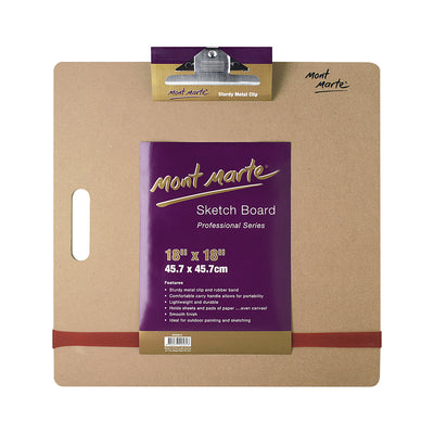 Mont Marte Sketch Board Sturdy Metal Clip 18X18 Inches, 1Pc