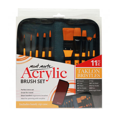 Mont Marte Acrylic Brush Set (taklon bristles)- 11pc