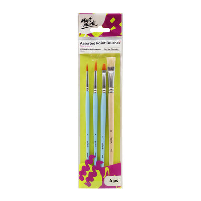 Mont Marte Discovery Assorted Paint Brushes, 4Pc