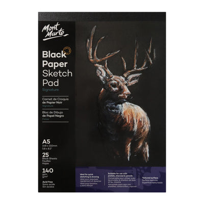 Mont Marte Signature Black Paper Sketch Pad 140Gsm A5 25 Sheet