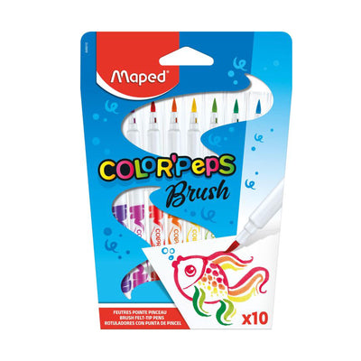Maped Color'Peps Brush Tip Pens 10 Shades Set- Calligraphy