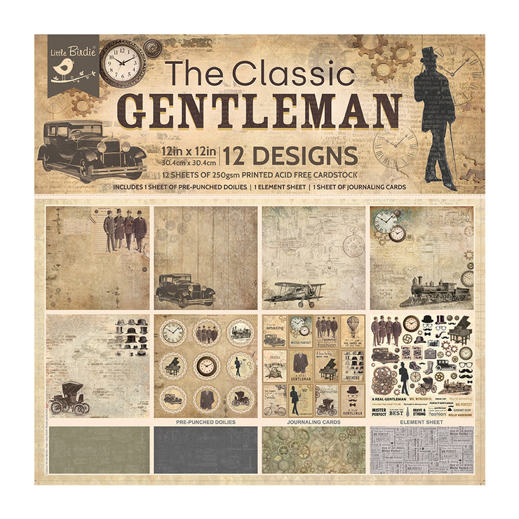 12 x12 inch Printed Cardstock pack- The Classic Gentleman, 12 Sheets, 12 Designs, 250 gsm