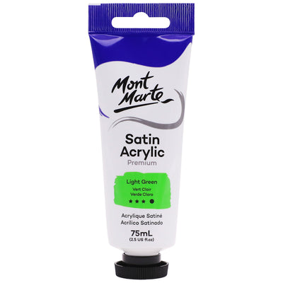 Mont Marte Premium Satin Acrylic Paint - Light Green, 75ml Tube