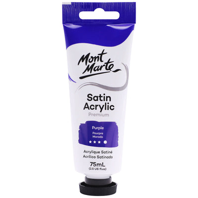 Mont Marte Premium Satin Acrylic Paint - Purple, 75ml Tube