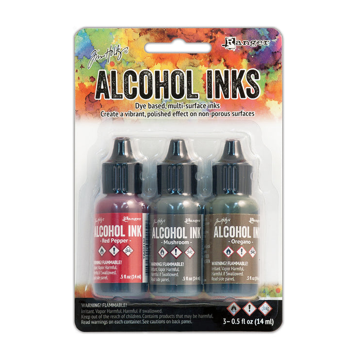 Tim Holtz Alcohol Ink Kits - Tuscan Garden, Set of 3pc