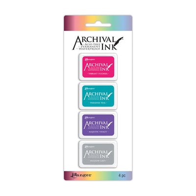 Ranger Mini Archival Ink Kit - Kit 4, 1.25in x 1.75in each, 4pc
