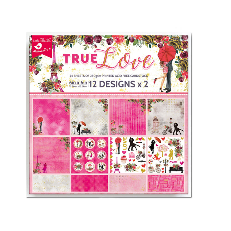 6 x 6 inch Printed Cardstock pack- True Love, 24 Sheets, 12 Designs, 250 gsm