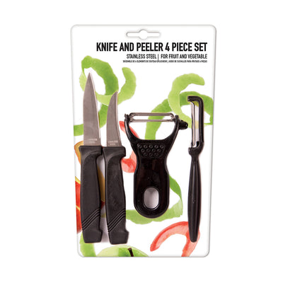Stainless Steel Knife And Peeler - Set of 4
