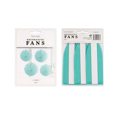Decorative Mini Fan- Teal, 30cm, 3pcs