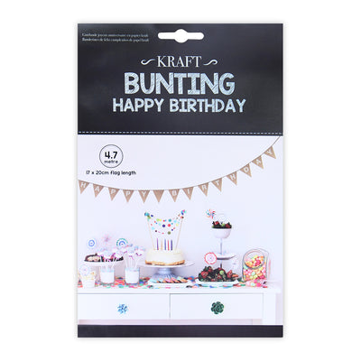 Bunting Happy Birthday- Kraft , 4.7mtr