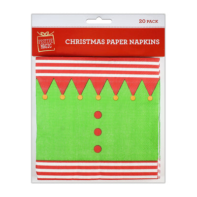 Christmas Paper Napkins - Buntings, Pack Of 20Pc